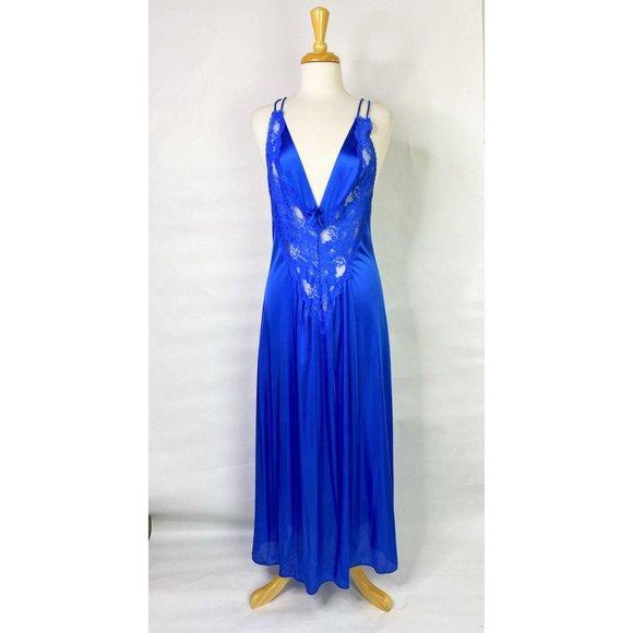VTG Royal Blue Sexy Nylon & Lace Nightgown, Medium